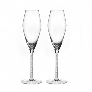 Calici flute in cristallo con diamantini, set 2 pz