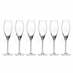 Calici flute in cristallo con diamantini, set 6 pz