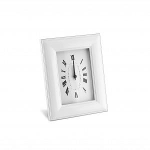 Orologio sveglia in alluminio smaltato bianco con decoro liscio