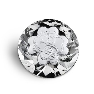 Diamante cristallo con quadrifoglio per 25° anniversario