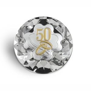 Diamante cristallo con quadrifoglio per 50° anniversario